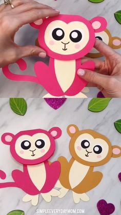Muttertag Kinder basteln - Fun Activities For Kids Crafts ✂️ Toddler Art Projects, Easy Art Projects, Projects For Kids, Monkey Art Projects, Easy Paper Crafts, Easy Crafts For Kids, Diy For Kids, Diy Paper, Holiday Crafts For Kids