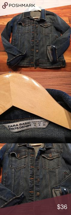 ZARA DISTRESSED JEAN JACKET - Size S Barely worn super cute jean jacket- from I think Spring 2017. Really great fit. No flaws. Light distressing on edges, but darker denim so still great over a LBD on a chilly night 🙂 Zara Jackets & Coats Jean Jackets