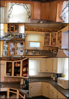 how to update old cabinets with picture frame molding, paint and new knobs