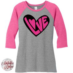 2 Tone Love Heart, Valentines Day, Womens Baseball Raglan 2 Tone 3/4 Sleeve Tops in Sizes Small-4X, Plus Size by MagnoliaAnn on Etsy