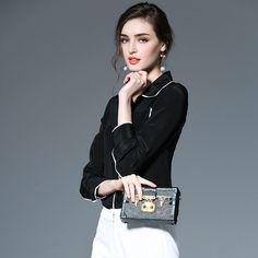 Kakagogo Moda Gasa de Seda Verdadero de 100% Bolsillos Patchwork Blanco Negro Blusas Elegantes Camisas Mujer Femenina D061 free shipping worldwide