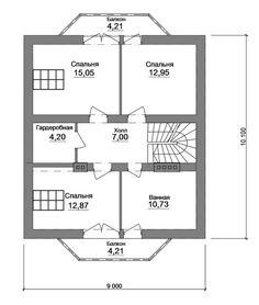 пРан одноэтажного дома из бруса 6x6 Дома