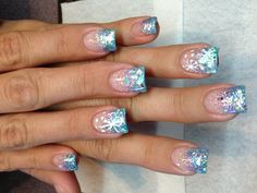 Nail Designs For Quinceaneras Primavera - new nails winter wonderland theme ❄❄❄ Winter Nail Designs, Cute Nail Designs, Winter Nails 2017, Sweet 16 Nails, Winter Wonderland Dress, Sweet 16 Parties, Trendy Nails, Christmas Nails, Hair And Nails