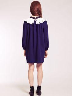 Dahlia Antoniette Navy Smock Dress with Frill Bib and Tie Bow