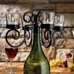 wine bottle candle candleabra topper