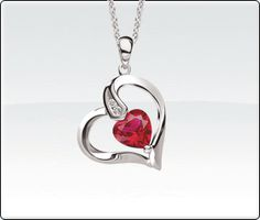 Heart pendant with Created Ruby and Diamonds