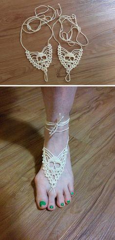 Skull Barefoot Sandals Free Crochet Pattern