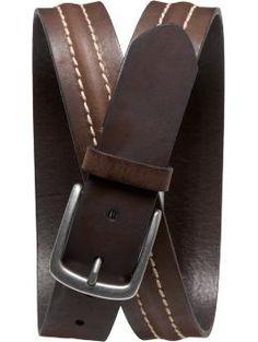 Center-Stitched Leather Belt