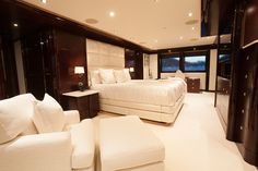 "Master Stateroom aboard Motor Yacht ""Trending"". Interior Design by Claudette Bonville Associates, Inc."