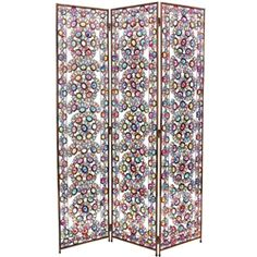 5 1/2 ft. Tall Winter and Spring Jeweled Decorative Folding Screen