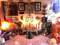 Here a little bit of Altar Inspiration.You can find Witchcraft altar and more on our website.Here a little bit of Altar Inspiration. Autel Wiccan, Wicca Altar, Wiccan Decor, Pagan Witch, Spiritual Decor, Wiccan Home, Magick Spells, Witch Room, Modern Witch