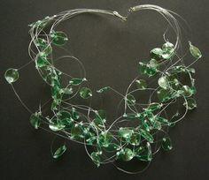 Recycled green plastic bottle chocker necklace upcycled jewelry Emerald Lightness eco friendly, sustainable. $16.00, via Etsy.