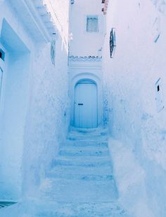 the all-blue town of Chefchaouen in Morocco, pale blue, sky blue, baby blue, powder blue Light Blue Aesthetic, Blue Aesthetic Pastel, Aesthetic Colors, Aesthetic Collage, Aesthetic Pictures, Collage Mural, Bedroom Wall Collage, Photo Wall Collage, Picture Wall