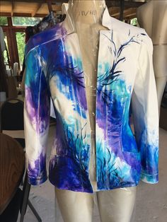 Hand painted Nappa leather jacket Couture, Albums, Hooded Jacket, Leather Jacket, Hand Painted, Athletic, Jackets, Fashion, Jacket With Hoodie