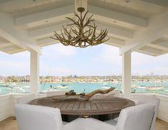 Coastal White California Beach House Outdoor Dining Room