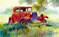"RUSTING IN THE SHADE by Mary Shepard Watercolor ~ Image size:  7"" x 10"" unframed"