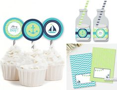 This instant download kit makes throwing together a party easy! Simply download and print. This party kit includes cupcake toppers, water bottle wrappers, and blank tent cards. Tent cards can be used for food and drink labels, or placecards. Features stripe and chevron patterns in a bright nautical color theme. The anchor and sailboat would be the perfect addition to a nautical baby shower.  Complete your party! Matching party accessories can be found here…