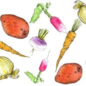 Root Vegetables by countrygarden, click to purchase fabric