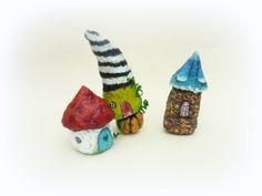 "Miniature Hobbit Houses (2"" - 3.3"") of Paper Mache, from Romania... 56.00, via Etsy."