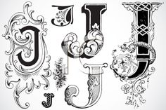 Royalty Free Clipart Image of a Collection of Letter J Free Clipart Images, Royalty Free Clipart, Fancy Letters, Monogram Letters, White Letters, Calligraphy Alphabet, Typography Letters, Caligraphy, Illuminated Letters