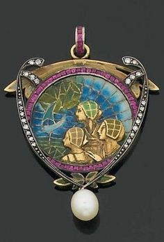 An Art Nouveau gold, enamel, diamond, ruby and pearl pendant, circa 1900. The triangular pendant depicting three women in Renaissance attire, against a background of the sea with a sailing ship, decorated with polychrome enamels, within a frame of calibré rubies, flanked by diamond-set scrolls, suspending a pear-shaped pearl drop, mounted in 18k gold. #ArtNouveau #pendant