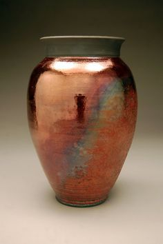 I LOVE his Raku work!    Handmade  Large Raku Vase  Raku Pottery  Copper Vase…