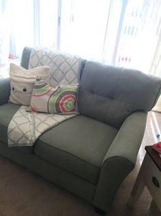 Sofa and loveseat are in new condition without any visible wear. I bought this furniture brand new less than a year ago. Sofa: 84″w X 38″d X 36″h Loveseat: 61w x 38d x 36h If you...