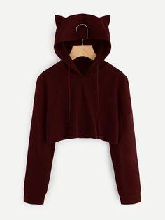 Drop Shipping Bts Crop Top hoodie Love Yourself Kpop Printing Funny Cat Ear Cropped Sweatshirt Hooded Pullover Women Tops Coat Crop Top Hoodie, Cool Hoodies, Cropped Sweater, Hooded Sweatshirts, Cute Outfits, Cat Ears, Funny, Crop Tops, Long Sleeve