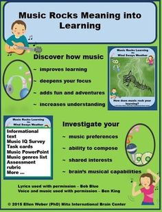 Music rocks learning in any class you teach where rhythm amps up focus or lyrics add meaning from course content.  Students love to find meaning through music much the way scientists love to see life through microscopes. In these materials they will hear a song that teaches them about whole brain learning, and will create music that allows them to explore changing musical views.