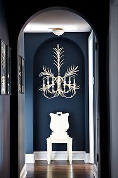 Farrow & Ball Hague Blue on Lisa Mende Design: Best Navy Blue Paint Colors - 8 of my Favs! - Model Home Interior Design Chicago Apartment, Hague Blue, Halls, Navy Walls, White Walls, Dark Painted Walls, Royal Blue Walls, Indigo Walls, Blue Paint Colors