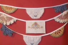 This beautiful doily bunting banner is the perfect vintage decoration for your wedding, tea party, birthday party, baby shower, or other special occasion. It will also look fabulous as a room decoration. This one-of-a-kind bunting has nine flags made from doilies of various sizes, colors, types and ages, that are sewn onto white bias tape. These are vintage doilies that I have collected from antique stores and thrift shops, and some may have small flaws, which only adds to their charm. They…