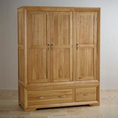 Bevel Natural Solid Oak Triple Wardrobe by Oak Furniture Land Solid Oak Wardrobe, Solid Wood Wardrobes, Triple Wardrobe, Oak Furniture Land, Solid Wood Furniture, Bedroom Furniture, Narrow Staircase, Large Dresser, Wow Products