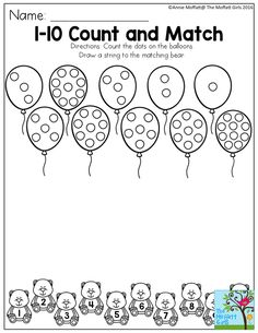 1-10 Count and Match- Count the dots on the balloons.  Draw a string to the matching bear.  So many FUN number activities for Preschool!