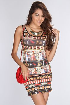 Step out in confidence in this one of a kind dress! Youll sure grab all the attention strutting your stuff in this sexy dress when you step out the door! Youll love it the moment you try it on! It features Egyptian print, scoop neck, sleeveless, and tight fitted. 96% Polyester 4%