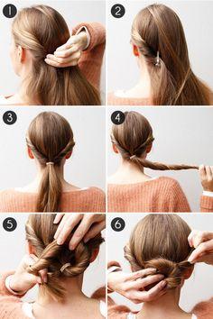 tuto coiffure pour réaliser un chignon facile en moins de cinq minutes à partir d une queue de cheval basse