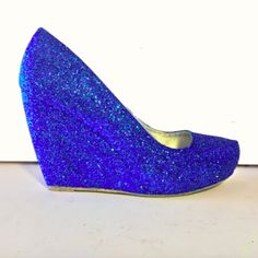 Women's Sparkly Royal Blue Glitter wedge Heels wedding bride prom shoes Personalized -GLITTER SHOE CO