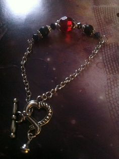 Bracelet  7 1/2 inches  Glass Beads  Ruby Red  by TheBraceletNook, $18.00