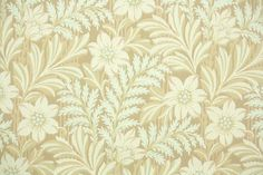 1930's Vintage Wallpaper - Floral Wallpaper with Pale Cream Flowers and Fern Leaves on Tan (hannahstreasures-etsy)