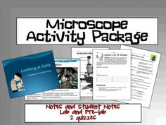 Microscope Activity Package- includes notes, pre-lab, lab, and 2 different quizzes! $ Science Labs, Life Science, Middle School Science, 5th Grades, Quizzes, Biology, Chemistry, Physics, Homeschool