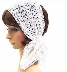 hand knit white mercerized cotton 3-option scarf wedding bridal boho retro