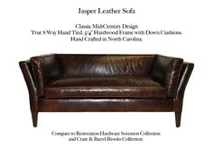 Jasper Slope Arm Leather Sofa by Casco Bay Furniture. Compare to the Sorenson style by Restoration Hardware or the Brooks style by Crate & Barrel. Leather Furniture, Leather Sofa, Casco Bay, Classic Sofa, Restoration Hardware, Crate And Barrel, Living Room Furniture, Jasper, Random Things