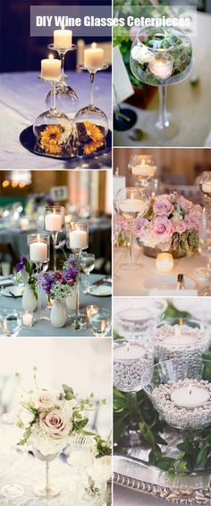 DIY wine glasses centerpieces for vintage wedding ideas