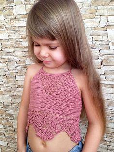 Toddler top Crochet open back top Clothing for kids Rose