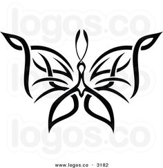 Royalty Free Vector of a Black and White Tribal Butterfly Flying ...