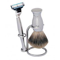 Shaving sets Shaving set, Gillette Mach by ERBE Shave Shop, Hair Questions, Shaving Set, Badger, Silver Metal, Vintage, Blog, Products