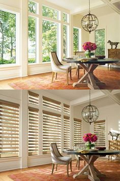 Magically transform a home with the light controlling beauty and style of Pirouette ® window shadings. ♦ Hunter Douglas window treatments #DiningRoom