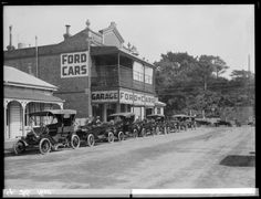Chavannes Garage in Wanganui, 1915, with Ford cars alongside. Photograph taken by Frank J Denton.