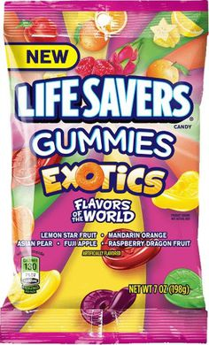 Life Savers, Exotics Chewing Gummies Candy, 7 Oz (Pack of Popcorn Snacks, Kid Snacks, Life Saver Gummies, Lifesaver Candy, Puffs Cereal, Sunday Recipes, Favorite Candy, Life Savers, Light Recipes
