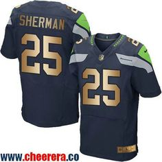 Men's Seattle Seahawks #25 Richard Sherman Navy Blue With Gold Stitched NFL Nike Elite Jersey