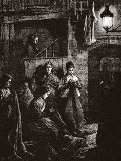 Sack-making by the light of a street lamp, 1877.